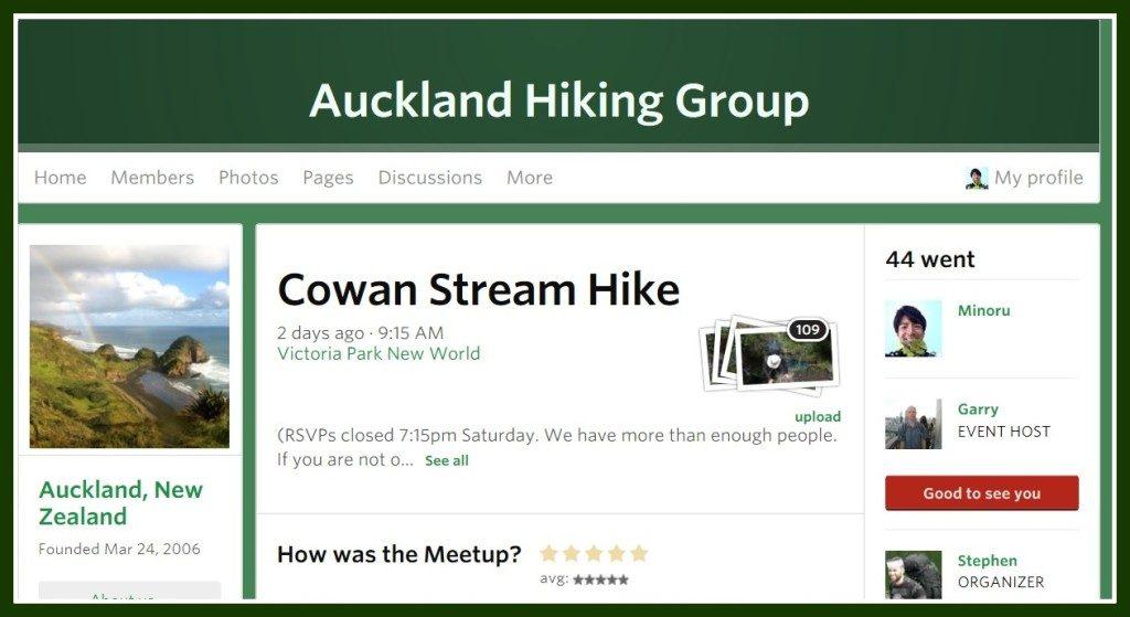オークランド・ハイキンググループの募集ページ