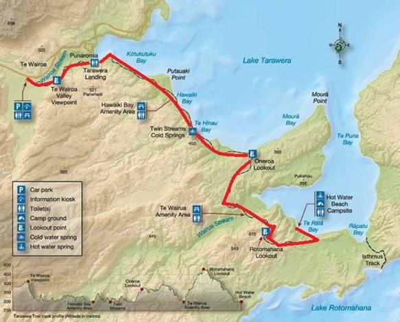 MAP ホットウォータービーチ(タワウェラ湖)